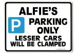 ALFIE'S Personalised Gift |Unique Present for Him | Parking Sign - Size Large - Metal faced